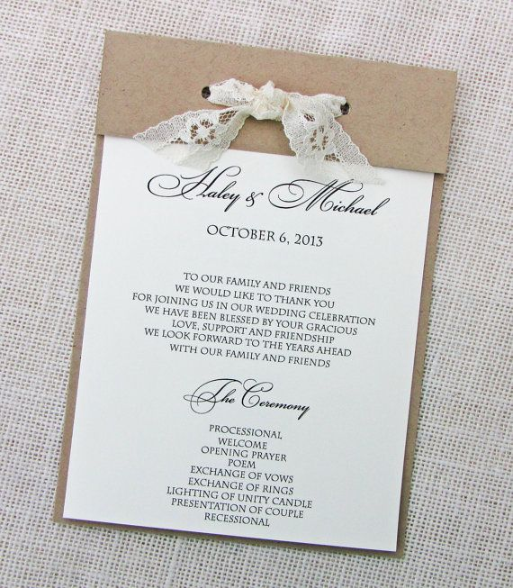 Lace Twine and Kraft Wedding Program by LoveofCreating on Etsy, $175.00