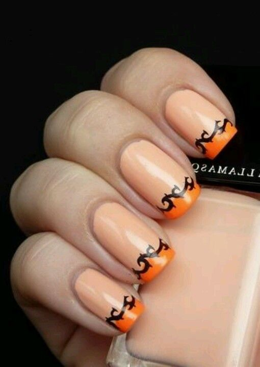 nail designs for fall 2014. use tape to cover all but tip of nail then paint a darker orange. black art pen (or thin sharpie) create designs for fall 2014