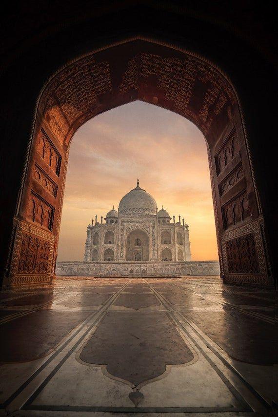 Taj Mahal, India (6 Sizes Art Prints, Giclee, Posters, Wood & Metal Signs, Tote Bag, Towel)