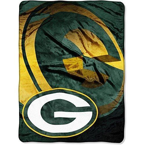 NFL Packers Throw Blanket 60 X 80 Football Themed Bedding Sports Patterned Team Logo Fan Merchandise Athletic Team Spirit Fan Gold Dark Green Raschel