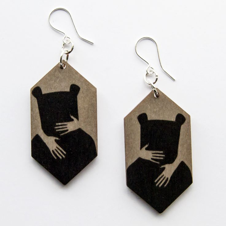 Bear Hug Earrings www.kikerigu.fi  Print on plywood.