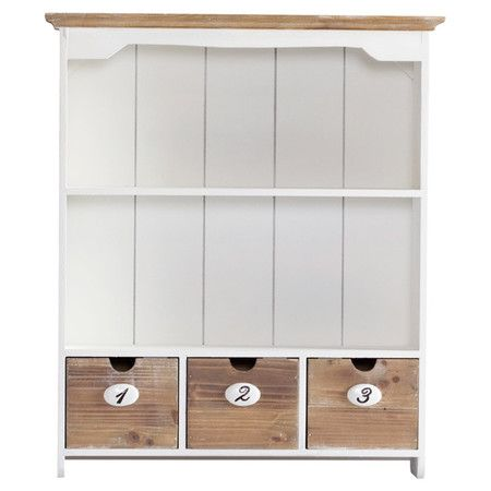 Perfect for storing out-the-door essentials in your hallway or de-cluttering your bathroom, this solid paulownia wood wall cabinet features a white finish an...