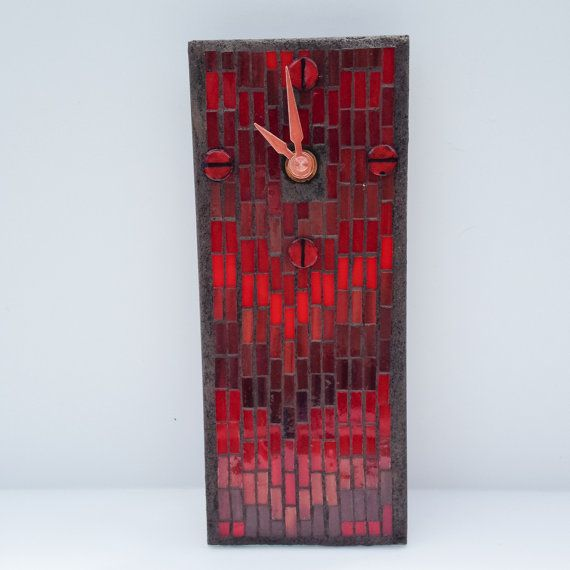 Red Clock, Stained Glass Mosaic Bargello Pattern, Small Wall Clock, Office Clock, Kitchen Clock, Masculine Clock, Chevron Pattern