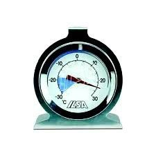 Thermometer for refrigerator and freezer by Ilsa. $18.90. Stainless steel thermometer to measure the temperature inside the refrigerator and/or freezer .Is fitted with a base to be placed and a hook at the top to be coupled to a grid. The temperature measurement is expressed both in degrees Celsius and degrees Fahrenheit.Dimensions: diameter cm. 6Temperature range: -30°C to +30°C; -20°F to +80°FMaterial: stainless steel 18/10