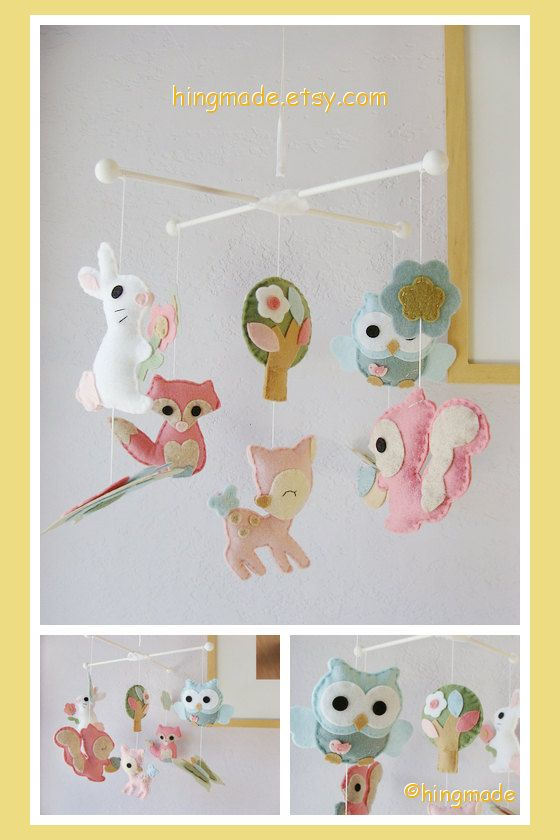 Baby Mobile - Woodland Critters Mobile - Bunny Deer Fox Squirrel and Owl friends Theme