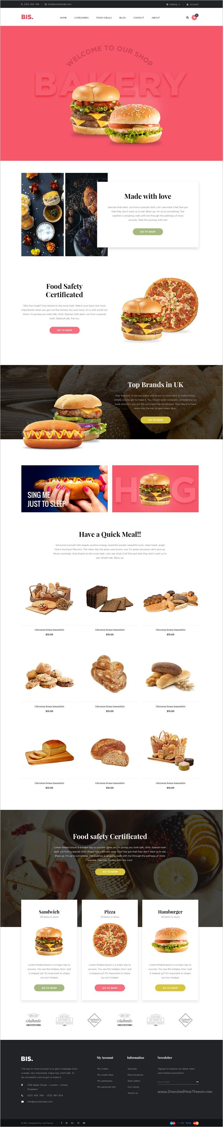 Leo Bis is a wonderful eCommerce #Photoshop #Template for #bakery #shop website download now➩ https://themeforest.net/item/leo-bis-ecommerce-psd-template/18347677?ref=Datasata