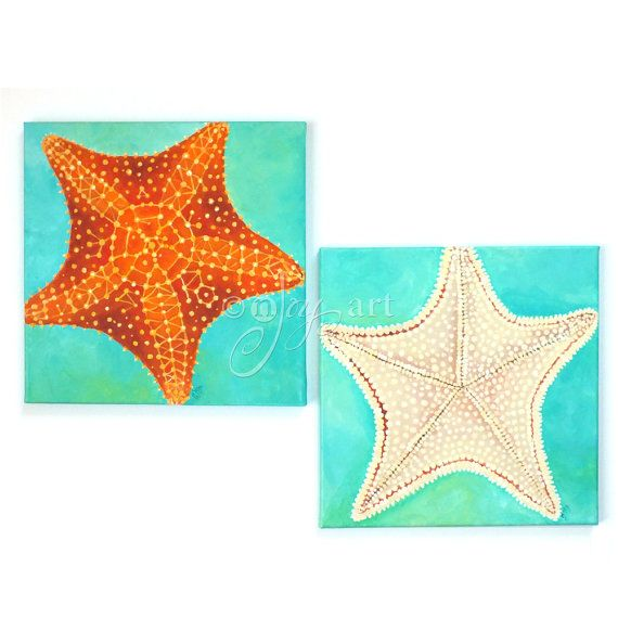 Starfish Pair Set of 2 12x12 acrylic starfish paintings by nJoyArt