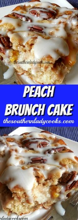 Peach brunch cake or coffee cake is wonderful for breakfast or brunch with coffee. Your family and friends will love this cake. #cake #coffee #breakfast