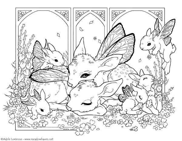 Clover Morning. Fanciful Flutterbunnies and adorable fawns. Original fantasy art coloring page by Adele Lorienne.  ~DIGITAL DOWNLOAD~ Included is 1 large JPG file and 1 PDF file. Letter size: 8.5x11 inches - 21.59x27.94 cm  -Easy to download and print out yourself onto your favorite paper or canvas! Grab your favorite medium--pencils, markers, gel pens, crayons, watercolor, whatever you like--then relax and enjoy coloring! Theres a whole story waiting to be brought to life beneath your…