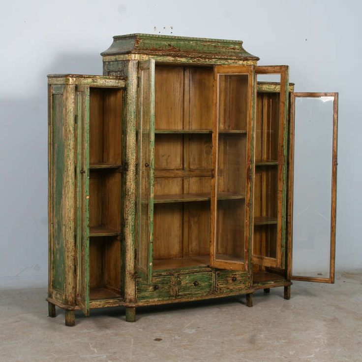 Antique Green Bookcase Display Cabinet with Glass Doors China circa