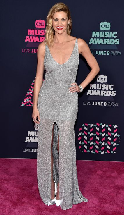Sequins, Slits and Lots of Skin! The Sexiest Style Moments at the CMT Awards | People - Erin Andrews in a low-cut silver dress