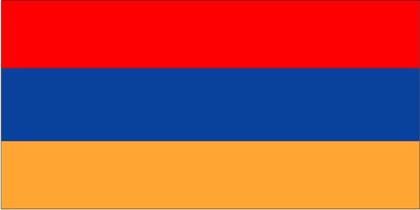 The flag of Armenia was officially adopted on August 24, 1990.          After gaining its independence from the former Soviet Union, this flag, once used in the 1920s, was proudly hoisted. Its colors are said to represent the people of Armenia, with red symbolic of the spilled blood of all Armenian soldiers, present and past; the orange symbolic of the fertile land and the farmers that work it, and the blue is symbolic of hope and the promising sky above.