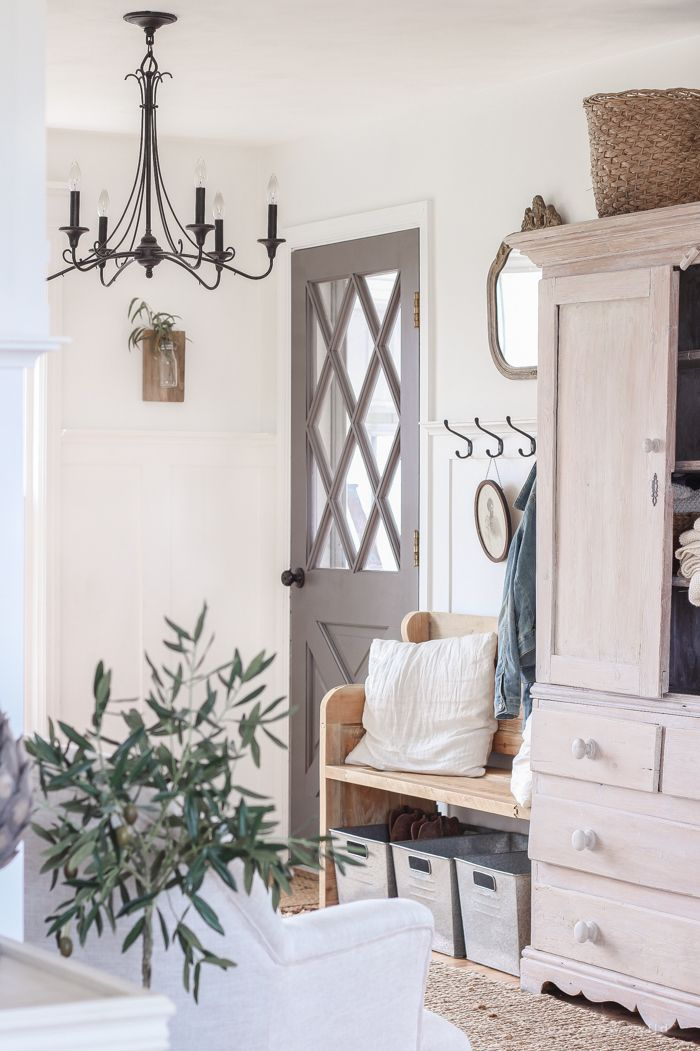 A Cozy Farmhouse Entryway - A cozy farmhouse entryway with the perfect balance of function, storage and style.