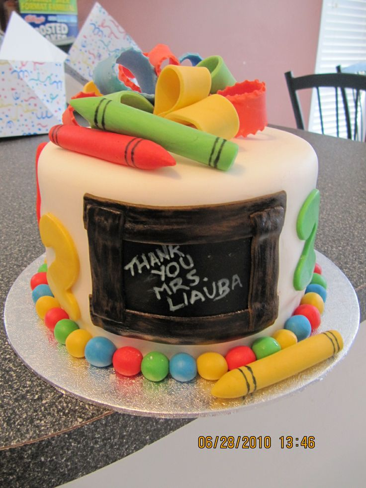 """End of School - 6"""" cake Design was inspired by all the different cakes on CC. All fondant and gumpatse decorations!"""