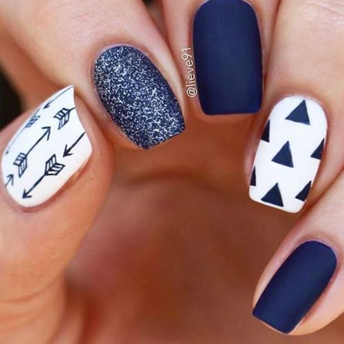 46 Elegant Navy Blue Nails Art Designs And Ideas With Images