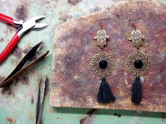 boho earrings gypsy earrings sexy black by SantoriniBarefoot