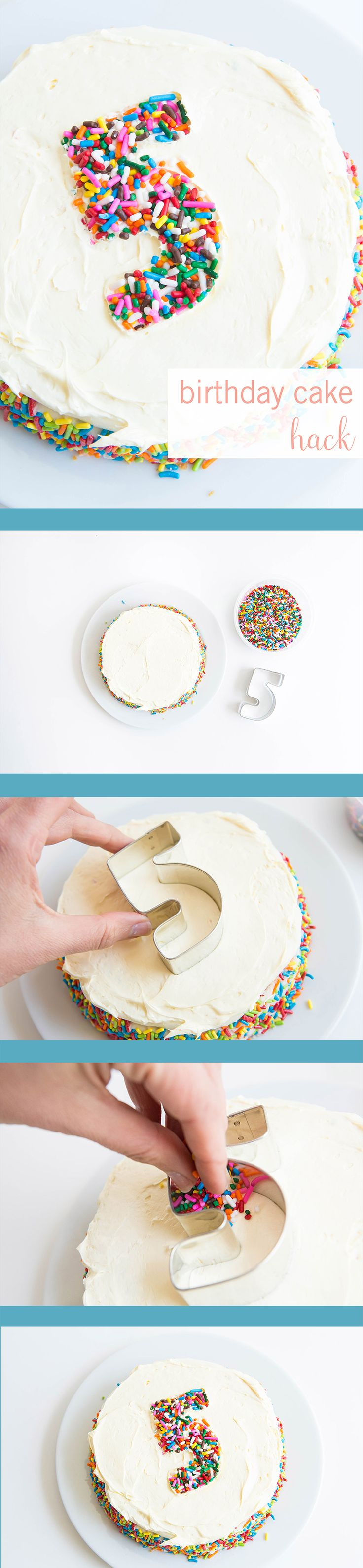 This food hack is going to change your life. Sometimes the fancy baking products needed to make a beautiful cake are less than kid-friendly, but this quick decorating trick is perfect for your kid's next party. Pick up some sprinkles and a cookie cutter and create the cutest cake around.