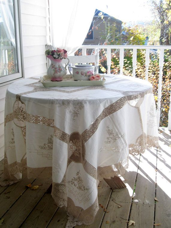 Gorgeous Large Tablecloth Netted Lace by mailordervintage on Etsy