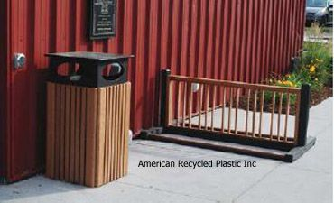 Heritage Waste Receptacle with Raincap and Deluxe Bike Rack, shown in Cedar.  Six colors available!  Check us out today at www.itsrecycled.com  #memorial #donor #bench #recycled #outdoorbenches #familybusiness