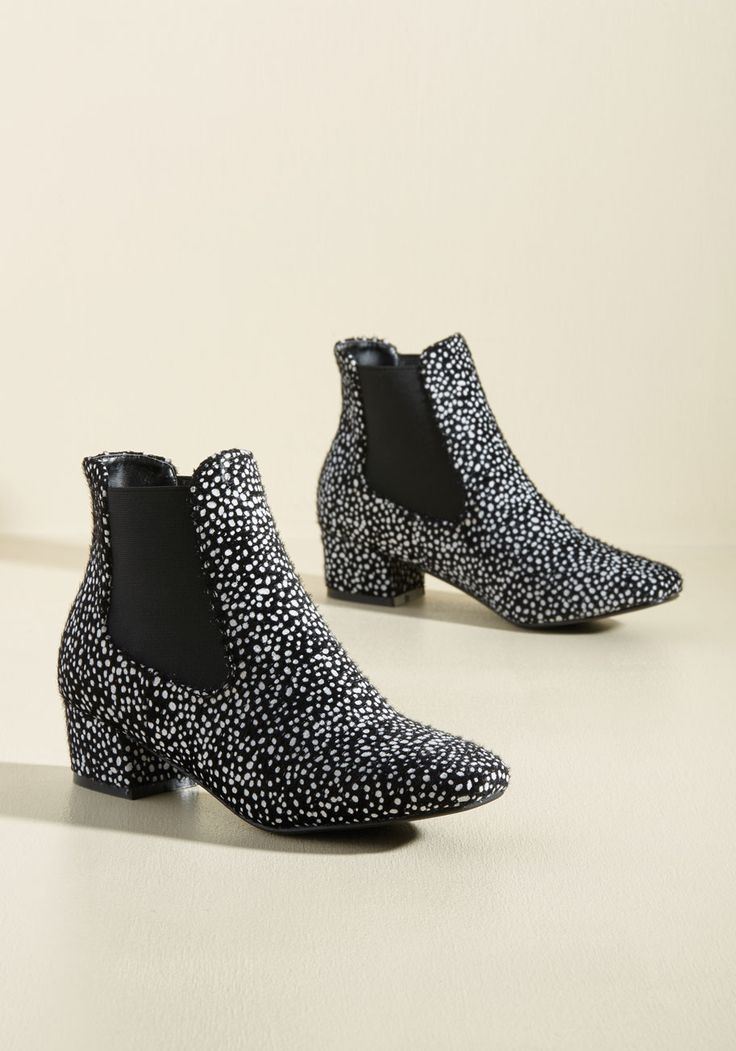 Get Up and Go-Go Bootie in Black Dots. When youre feeling as fab as you do in these black booties, every onlooker will want to embody your stylish enthusiasm! #black #modcloth