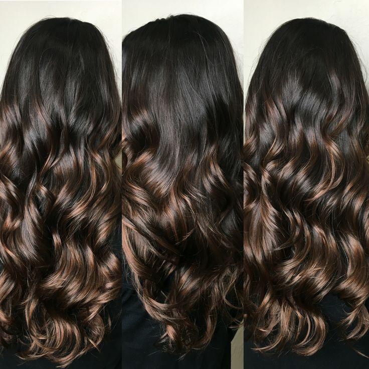 Dark balayage hair, brown balayage hair, chocolate brown hair, long brown hair, long hair curls, long haircut, natural balayage, @hairbyjayleen