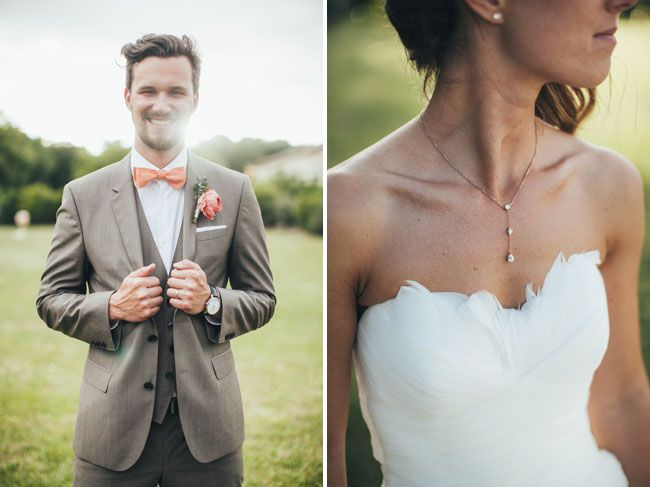 peach bow tie groom, feathered sweetheart neckline wedding dress