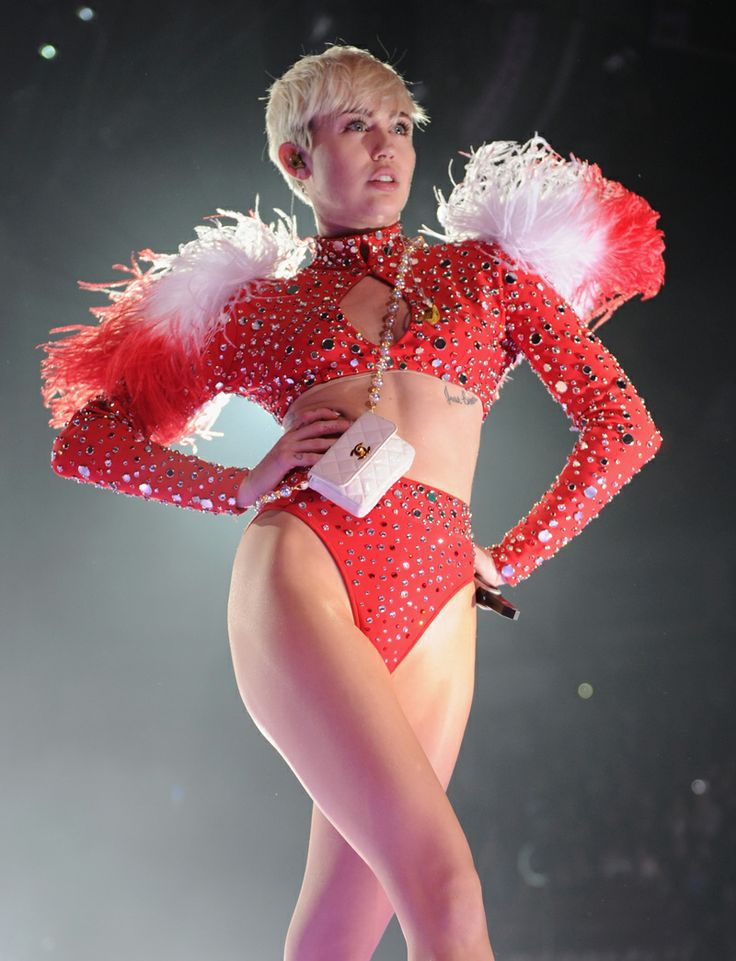 February 14, 2014: Miley Cyrus wears a custom red bottom ...
