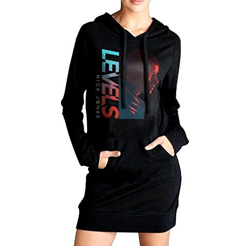 JHH Womens Nick Jonas Levels Hooded Sweatshirt Pockets Hoodie Dress Black Size L *** Read more reviews of the product by visiting the link on the image.