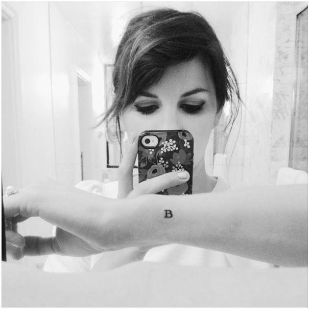 "Anna Rifle Bond (from Rifle Paper Co) tiny ""B"" tattoo http://instagram.com/annariflebond"
