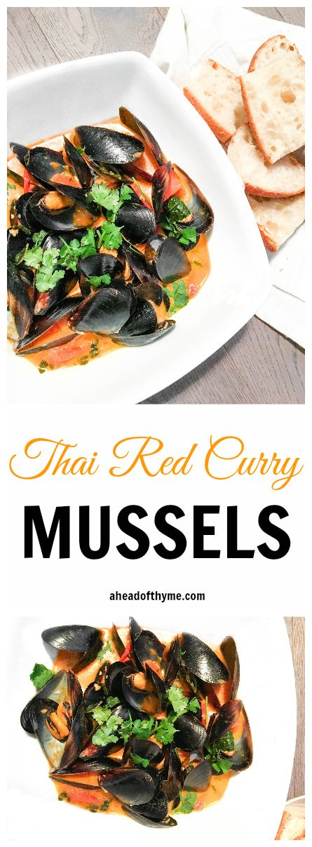 Thai Red Curry Mussels: Show off your kitchen skills with this quick and gorgeous appetizer. Serve with a side of bread for dipping | aheadofthyme.com