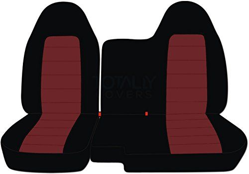 1998-2003 Ford Ranger/Mazda B-Series Two-Tone Truck Seat Covers (60/40 Split Bench) - No Armrest/Console: Black and Burgundy (21 Colors) 1999 2000 2001 2002