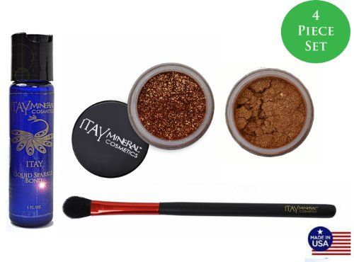 Itay Mineral Cosmetics Mineral Bondeye Shadow 16 Hot Bronzeglitter G12 Glint Coppereye Shimmer Brush Bundle of 4 Items * You can find out more details at the link of the image.