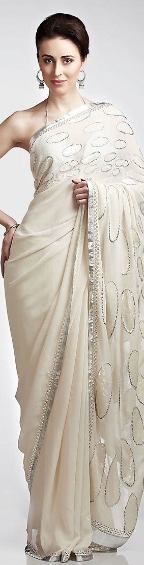 Ivory polka embroidered saree | Satya Paul