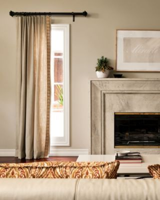 Photo Gallery - Smith+Noble. Example of drapery panel on one side of window only. Option for family room windows. One to left of fireplace and one to right of fireplace (excluding doors to outside)