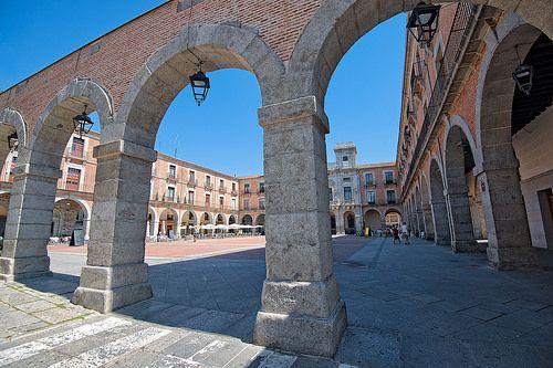 Small market square in Avila, Spain