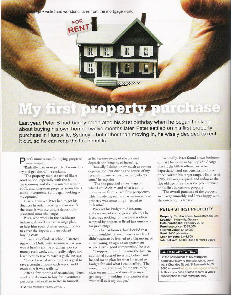 Your Mortgage magazine - My first property, by Sarah.