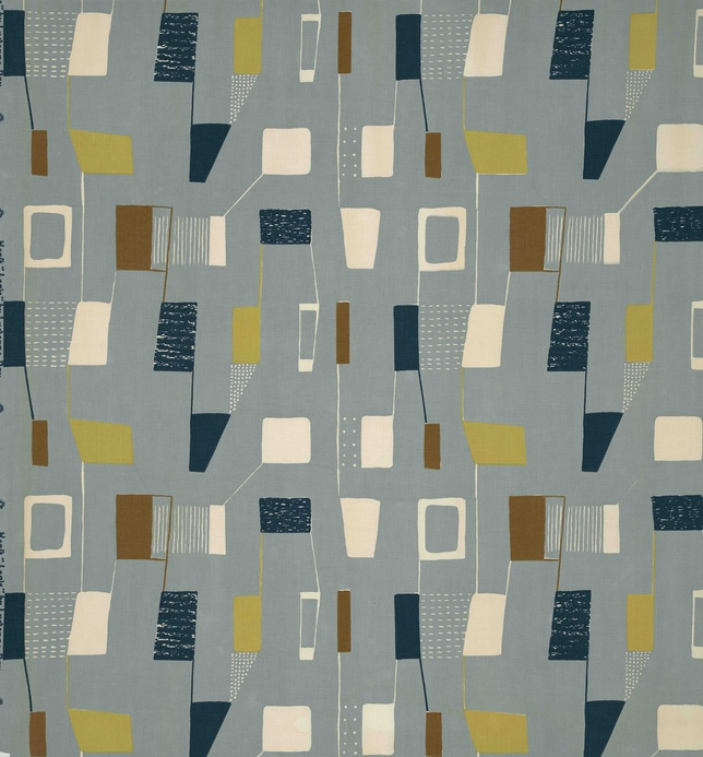 Lapis, (detail), 1953. Lucienne Day. Manufactured by Heal Fabrics. Jill A. Wiltse and H. Kirk Brown III Collection of British Textiles. On display at the Textile Museum in Washington, DC, May 15-September 12, 2010, as part of the exhibit Art by the Yard: Women Design Mid-Century Britain.