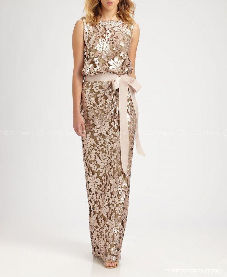 Платье - Tadashi Shoji  | Nude Bluson lace gown