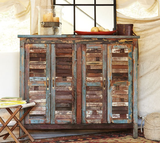 ... using old shutters for doors on a cabinet