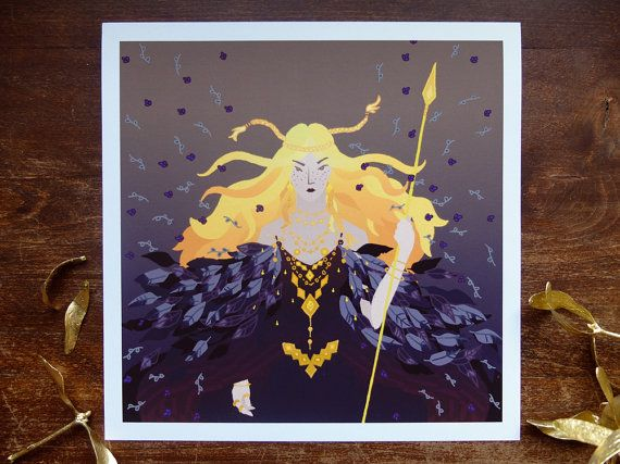 Freyja | giclee print from digital artwork #Digital #goddess #print #mythology #Odin #Valhalla #Norse #Edda #viking #love #beauty #cat #falcon #women #mebekka #etsy #etsyshop