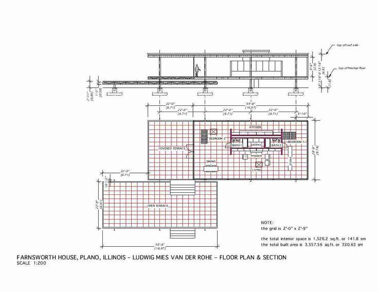 Plan & Section. The Edith Farnsworth House, Plano, Illinois, 1951   Ludwig Mies van der Rohe