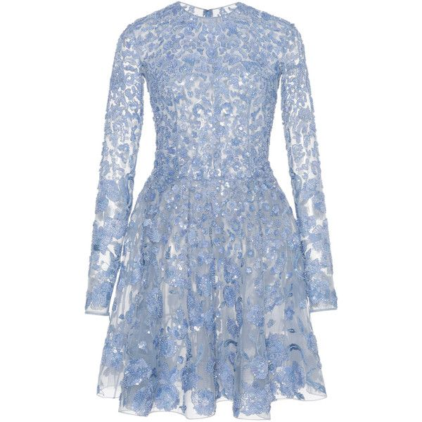 Sequin Embroidered Flared Mini Dress | Moda Operandi (19435 TND) ❤ liked on Polyvore featuring dresses, blue cocktail dresses, blue long sleeve dress, blue dress, long sleeve short dress and blue fit-and-flare dresses
