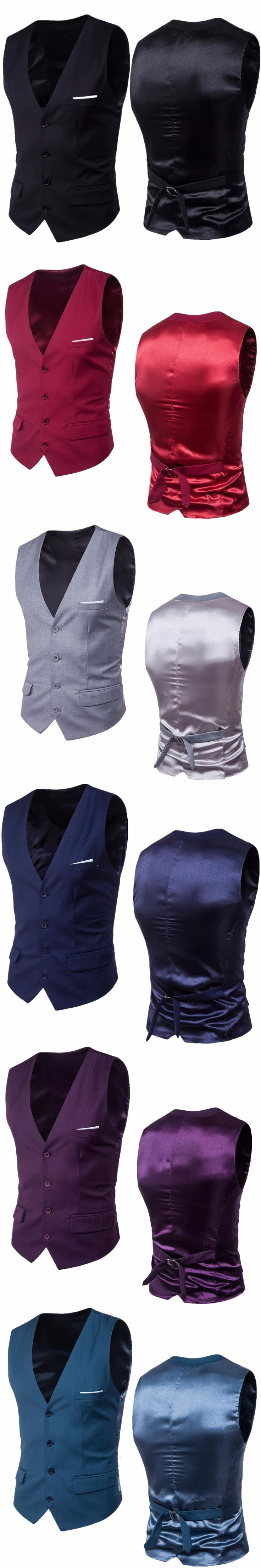 Men's Vest 2017 Europe Design Masculino Sleeveless Suit Vest Vintage Style Gilet V-Necked Slim Fit 9Color 6XL Wedding Waistcoats