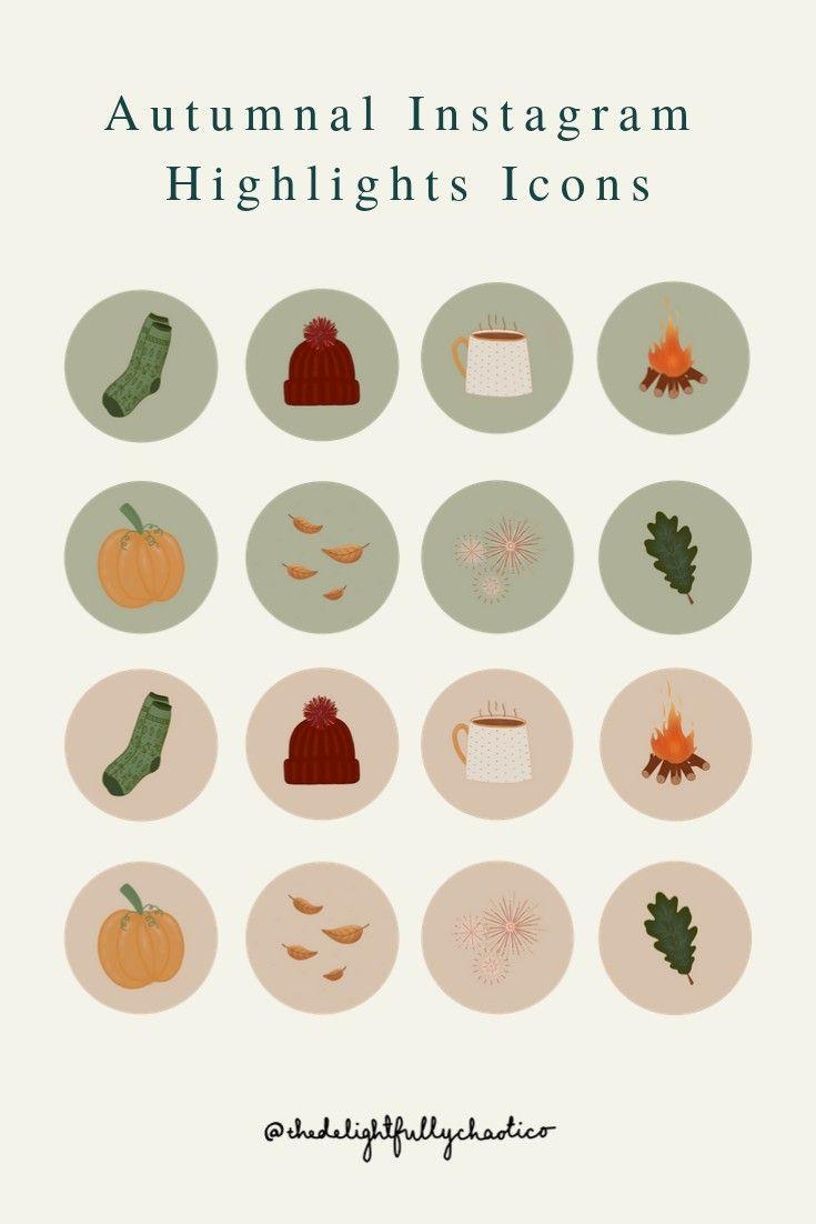 Autumn Instagram Story Highlight Icons Hand Drawn Fall Icons Etsy Autumn Instagram Autumn Illustration Instagram Aesthetic