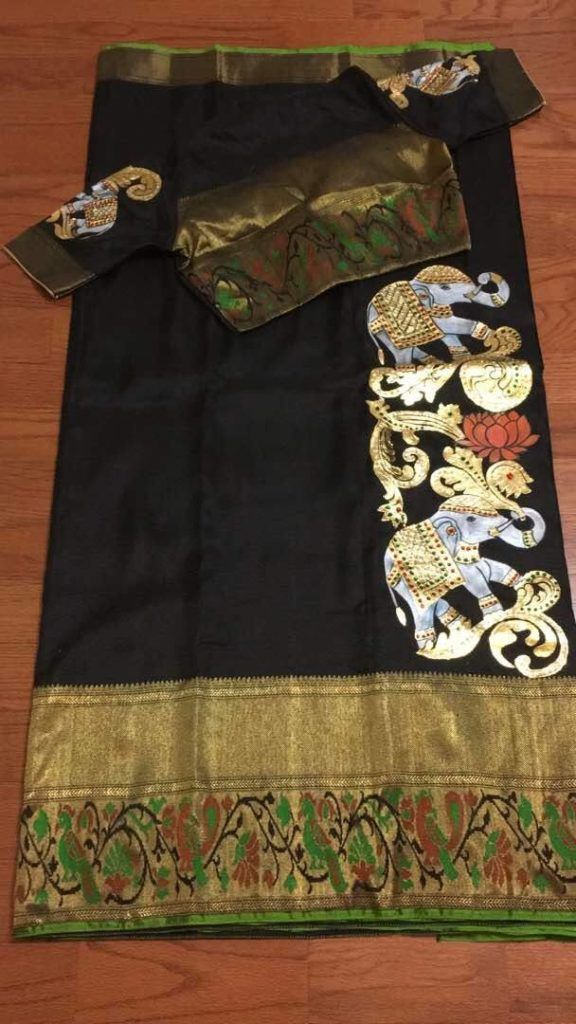 Painted silk saree from Trendy Traditionals www.yarnstyles.com