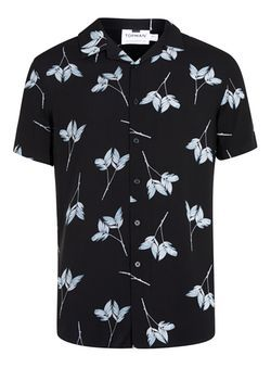 Black and White Leaf Print Revere Collar Shirt