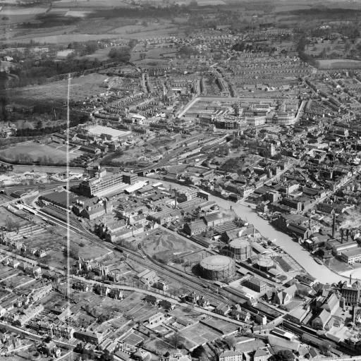 The St Peter's Street Gas Works and environs, Maidstone, from the south-west, 1949. This image was marked by Aerofilms Ltd for photo editing. | Britain from Above