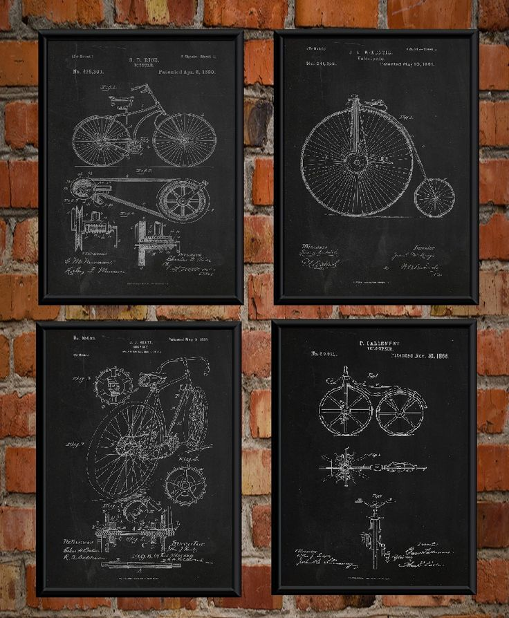 Bicycle poster bicycle patent drawing bicycle patent print bicycle art bicycle decor