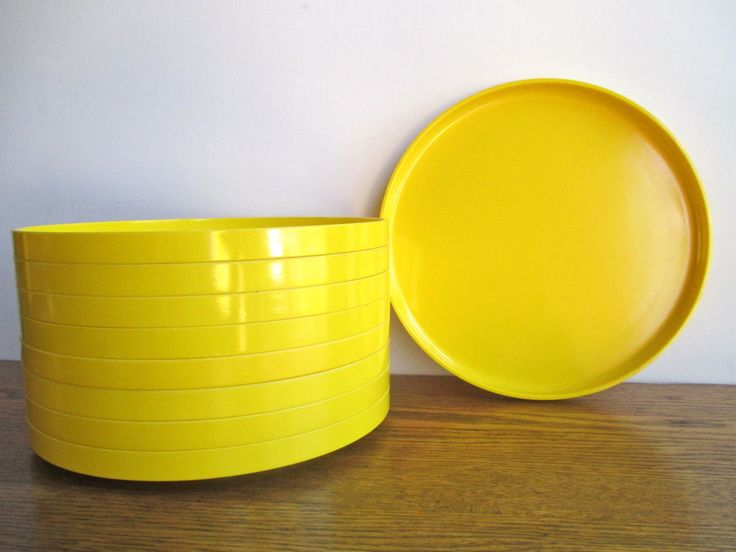 Vintage Vignelli for Heller Yellow Dinner Plates Set of 9 by TheJoeKnoxCompany on Etsy -sold.