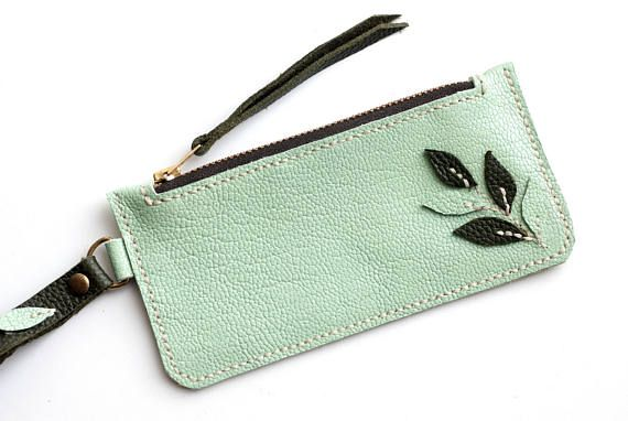 Leather zipper wallet soft  leather key holder key case
